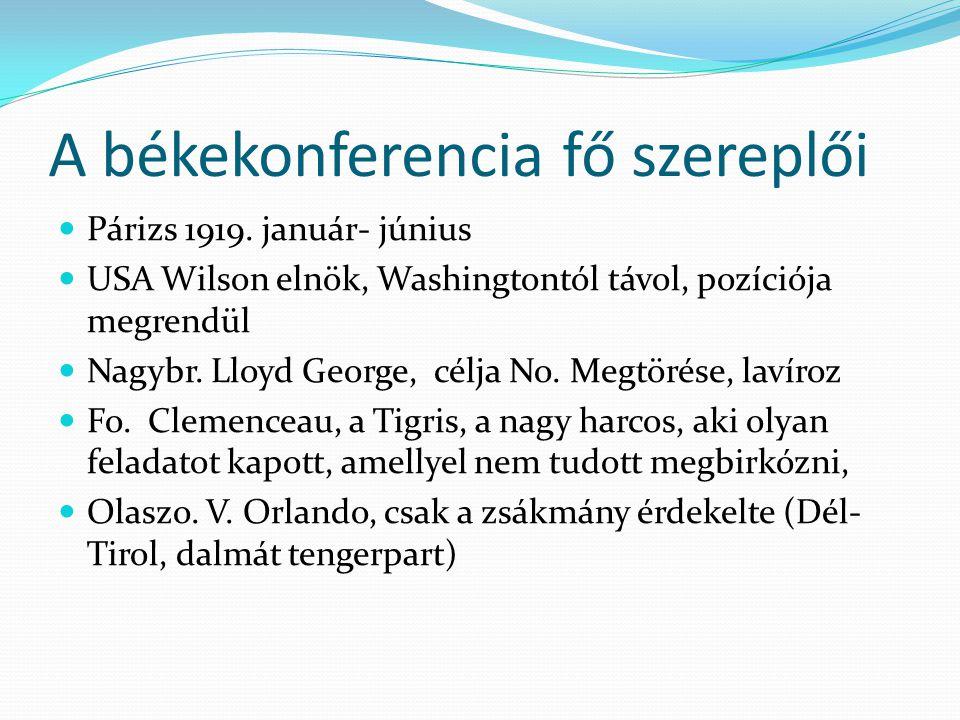 A békekonferencia fő szereplői
