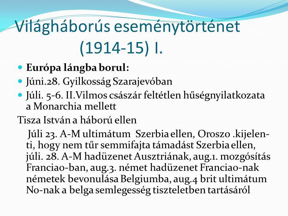 Világháborús eseménytörténet (1914-15) I.