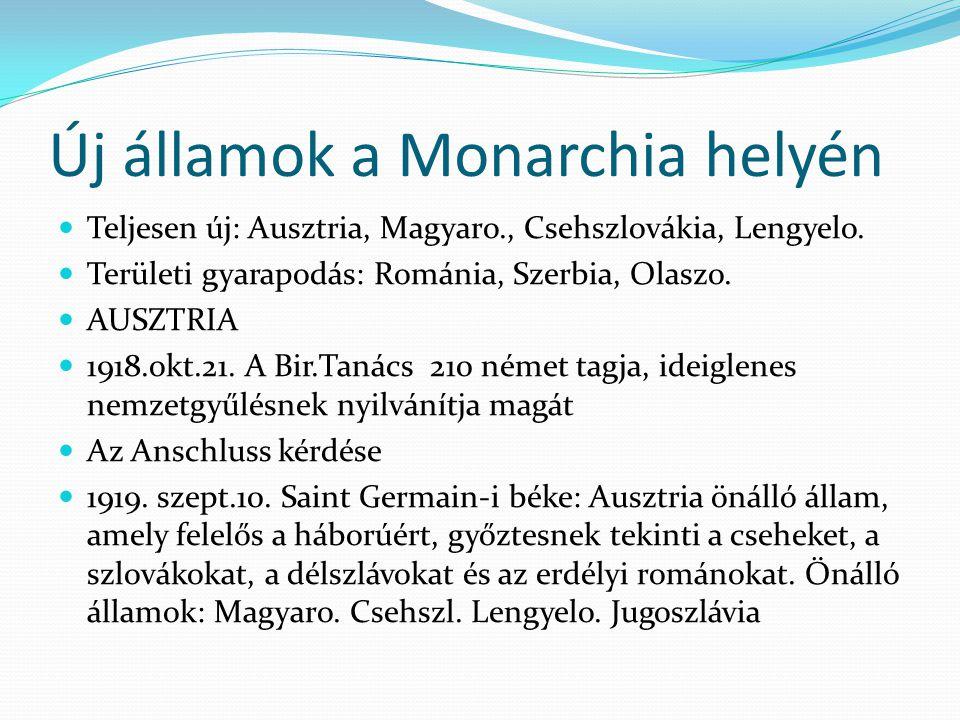 Új államok a Monarchia helyén