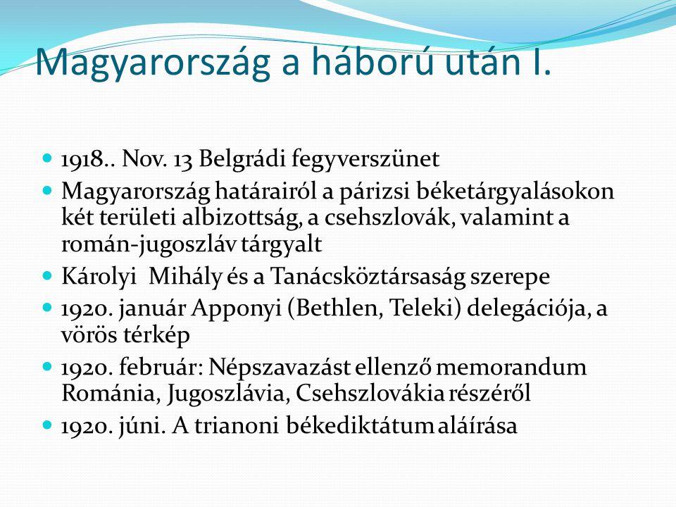 Magyarország a háború után I.