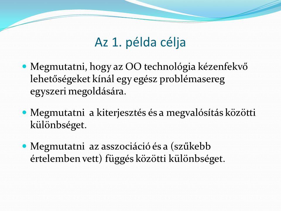 Az 1. példa célja Megmutatni, hogy az OO technológia kézenfekvő lehetőségeket kínál egy egész problémasereg egyszeri megoldására.