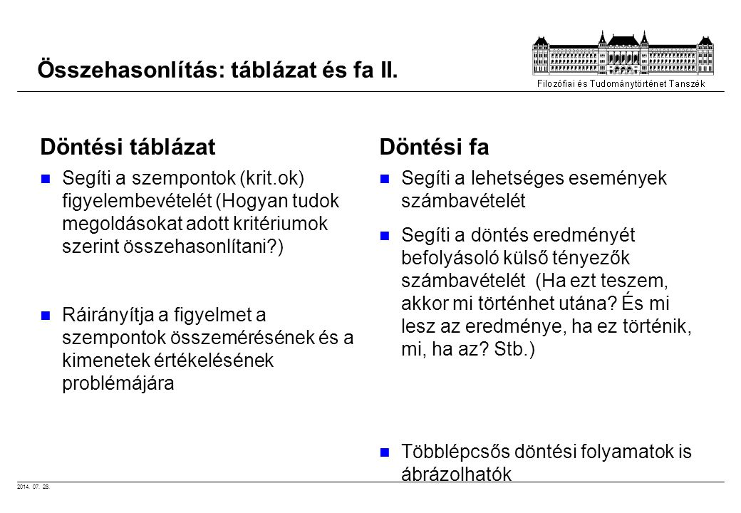 Összehasonlítás: táblázat és fa II.