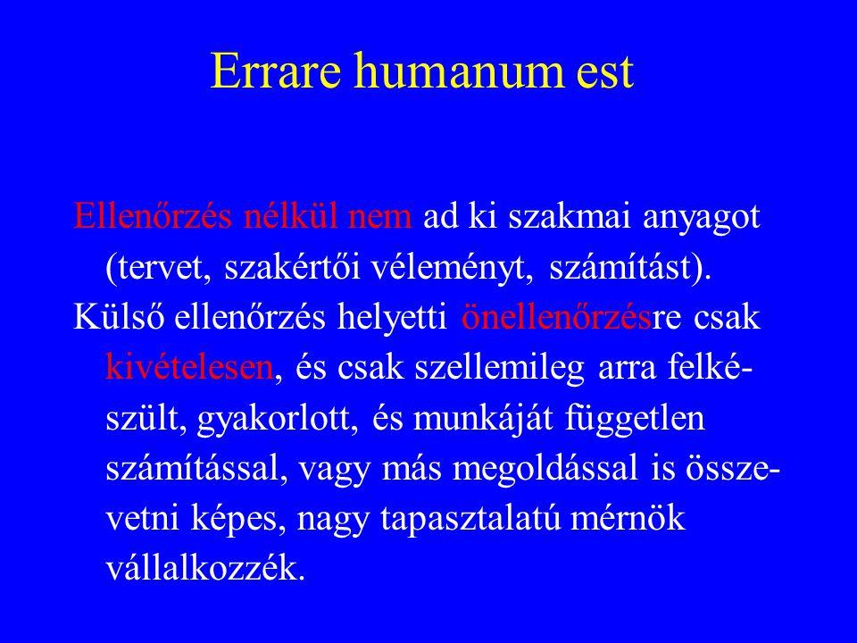 Errare humanum est Ellenőrzés nélkül nem ad ki szakmai anyagot (tervet, szakértői véleményt, számítást).