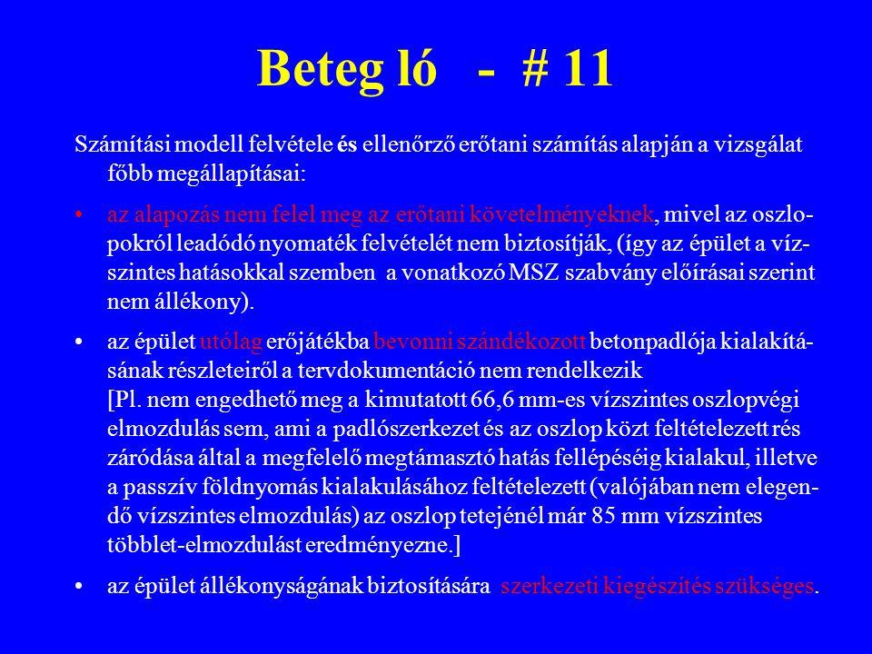 Beteg ló - # 11 Számítási modell felvétele és ellenőrző erőtani számítás alapján a vizsgálat főbb megállapításai: