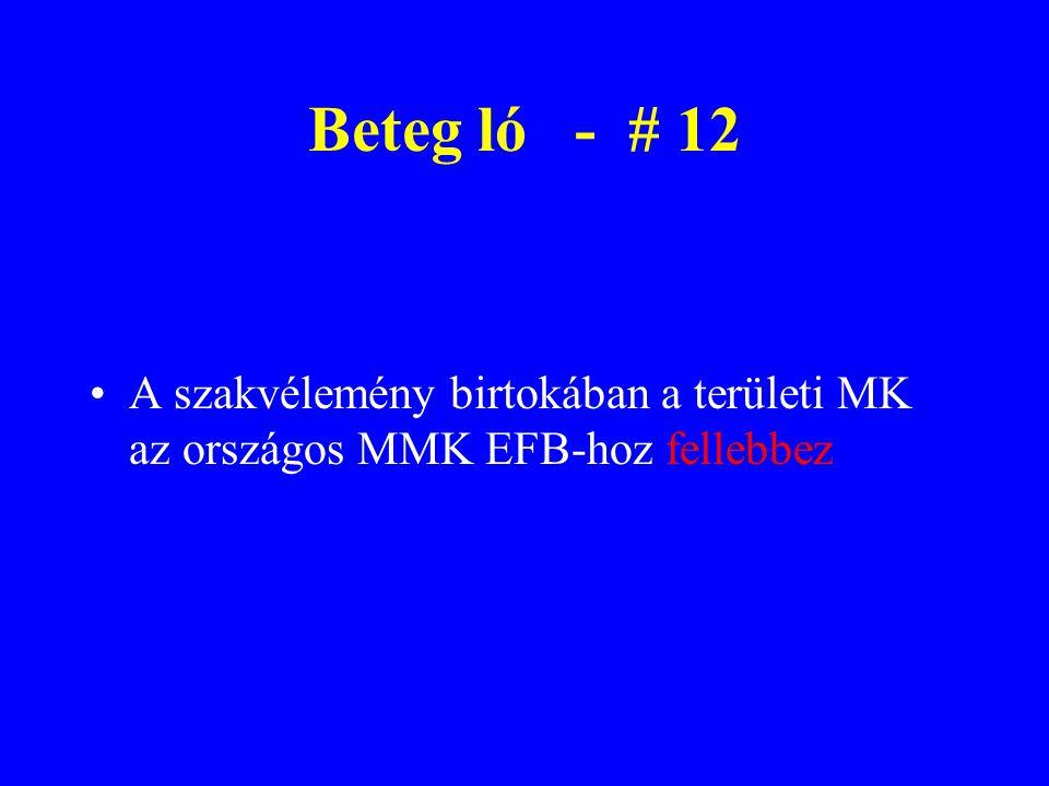 Beteg ló - # 12 A szakvélemény birtokában a területi MK az országos MMK EFB-hoz fellebbez