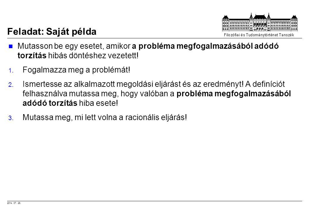 Feladat: Saját példa Mutasson be egy esetet, amikor a probléma megfogalmazásából adódó torzítás hibás döntéshez vezetett!