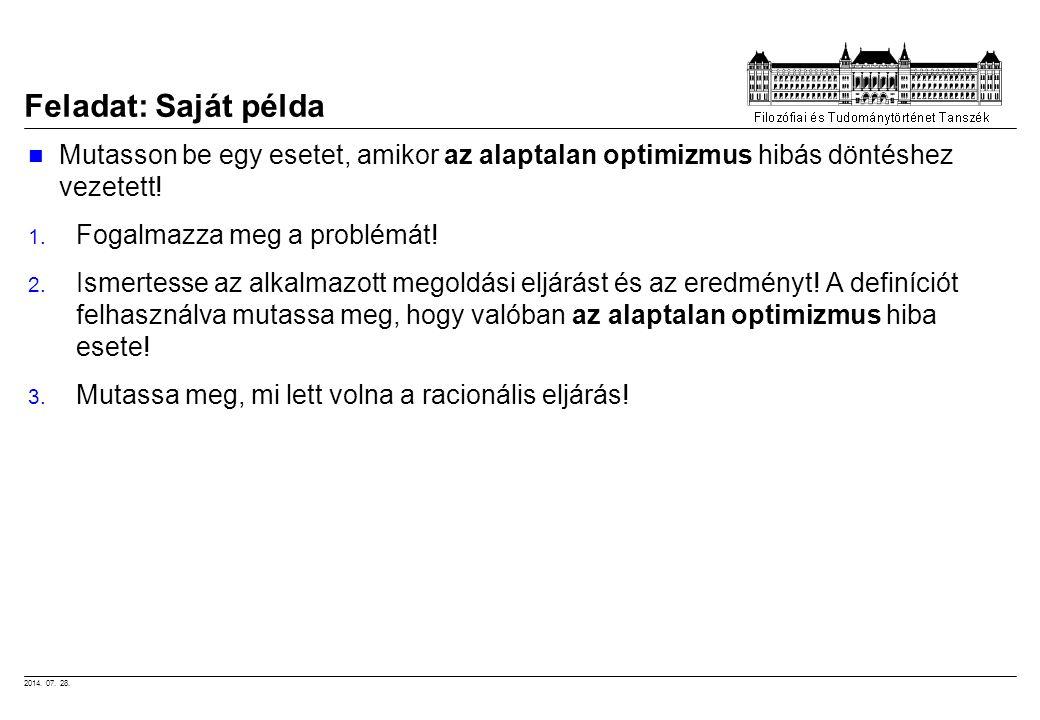 Feladat: Saját példa Mutasson be egy esetet, amikor az alaptalan optimizmus hibás döntéshez vezetett!