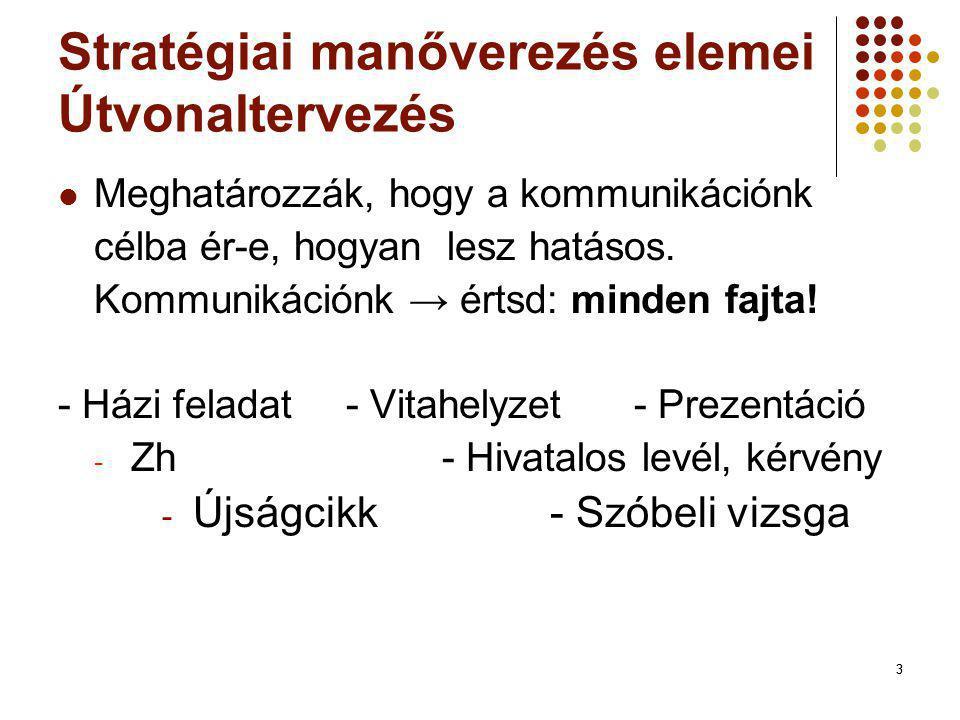 Stratégiai manőverezés elemei Útvonaltervezés