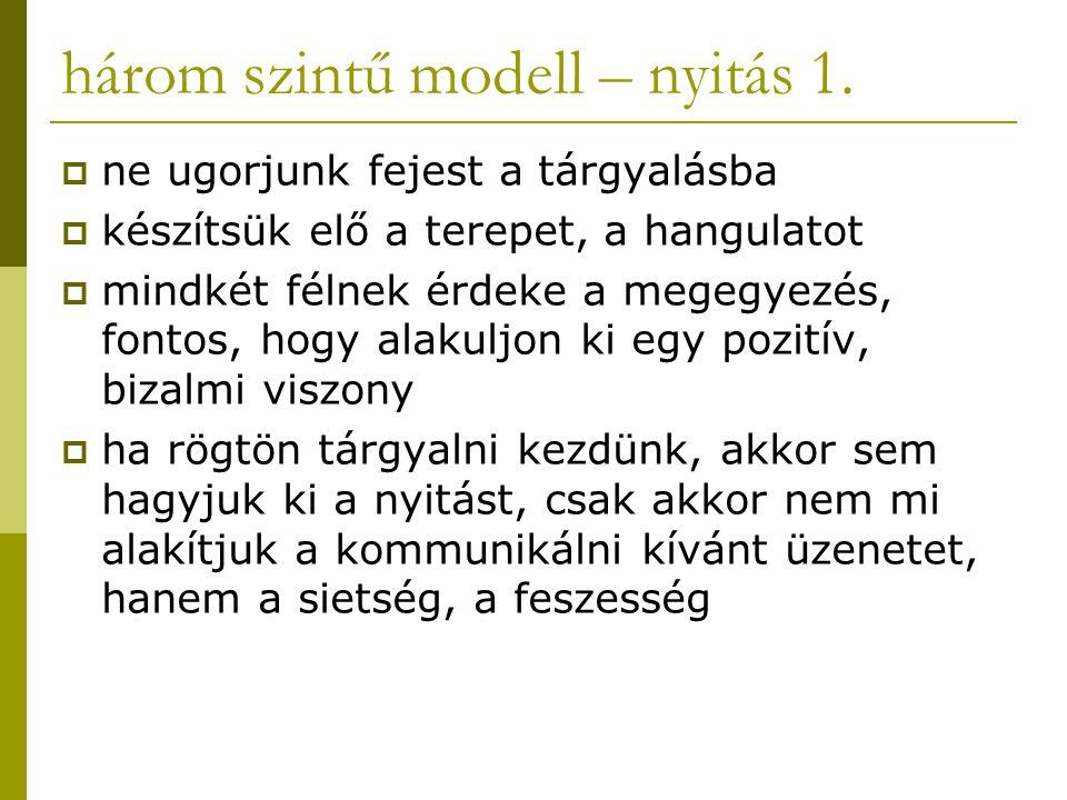 három szintű modell – nyitás 1.