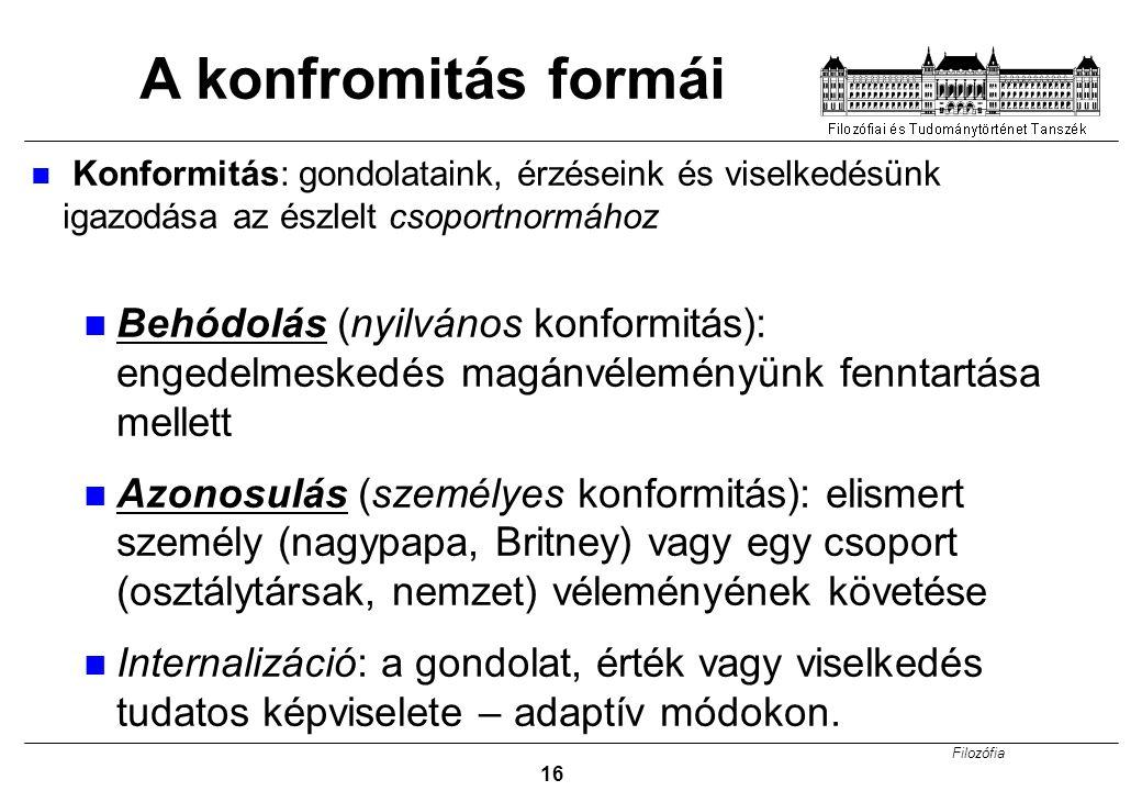 A konfromitás formái Konformitás: gondolataink, érzéseink és viselkedésünk igazodása az észlelt csoportnormához.