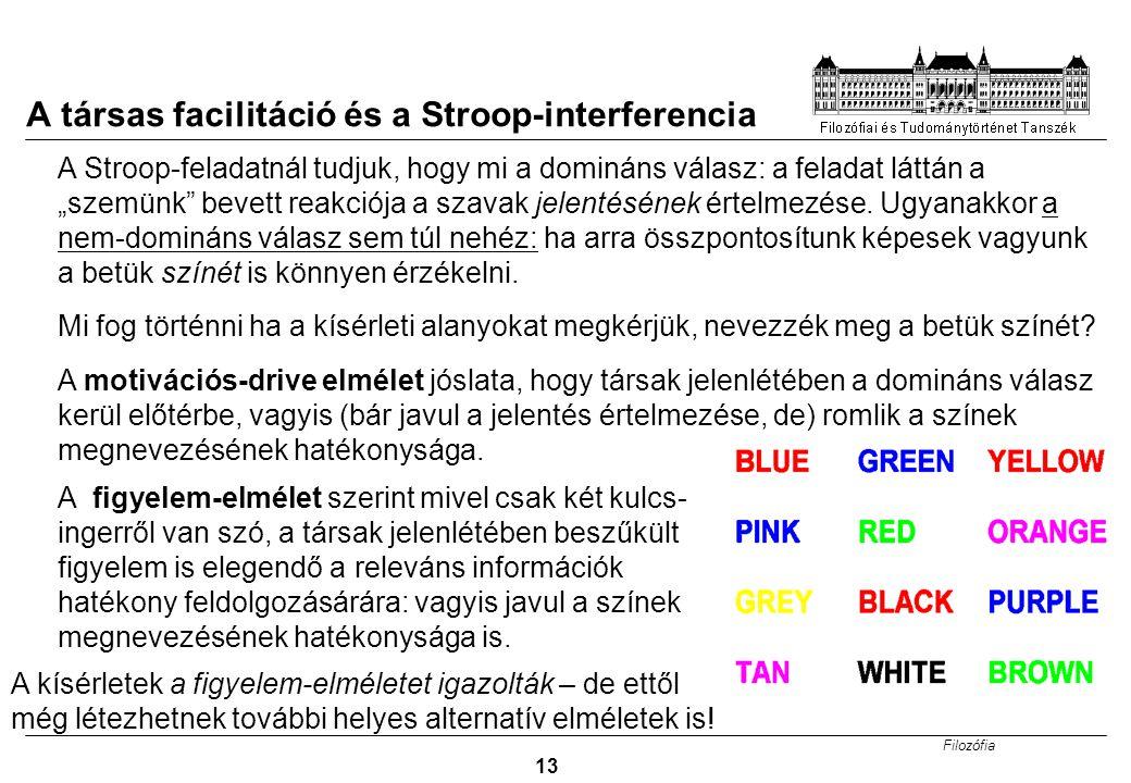 A társas facilitáció és a Stroop-interferencia
