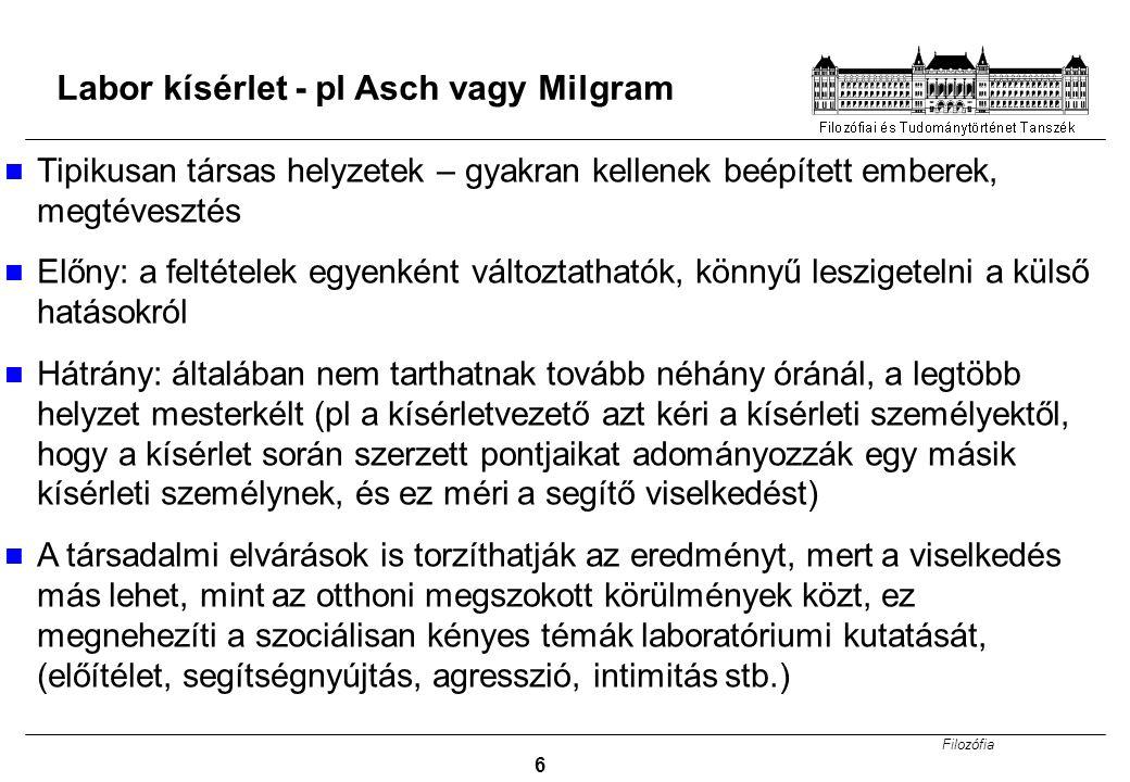 Labor kísérlet - pl Asch vagy Milgram