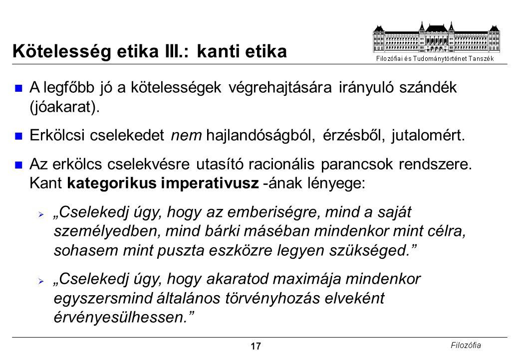 Kötelesség etika III.: kanti etika