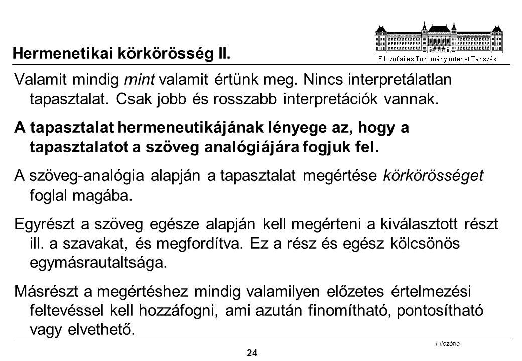 Hermenetikai körkörösség II.