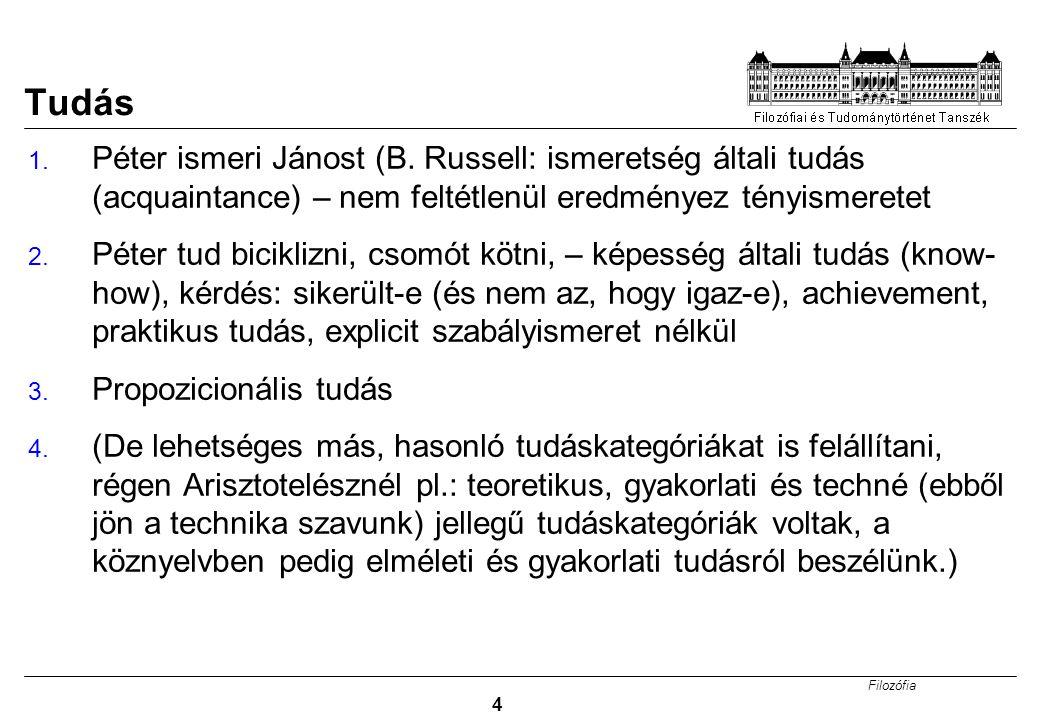 Tudás Péter ismeri Jánost (B. Russell: ismeretség általi tudás (acquaintance) – nem feltétlenül eredményez tényismeretet.