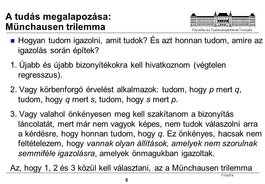 A tudás megalapozása: Münchausen trilemma