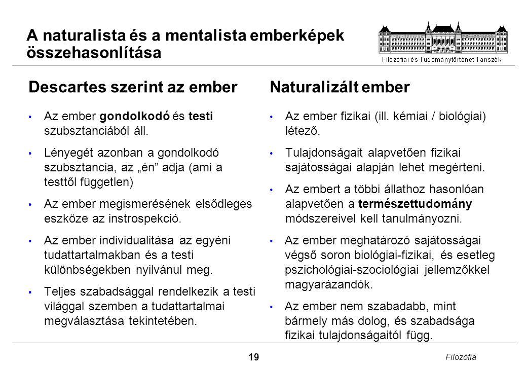 A naturalista és a mentalista emberképek összehasonlítása