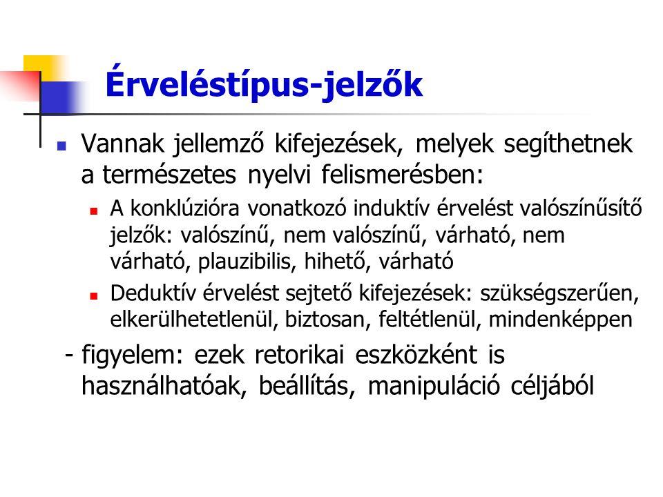 Érveléstípus-jelzők Vannak jellemző kifejezések, melyek segíthetnek a természetes nyelvi felismerésben: