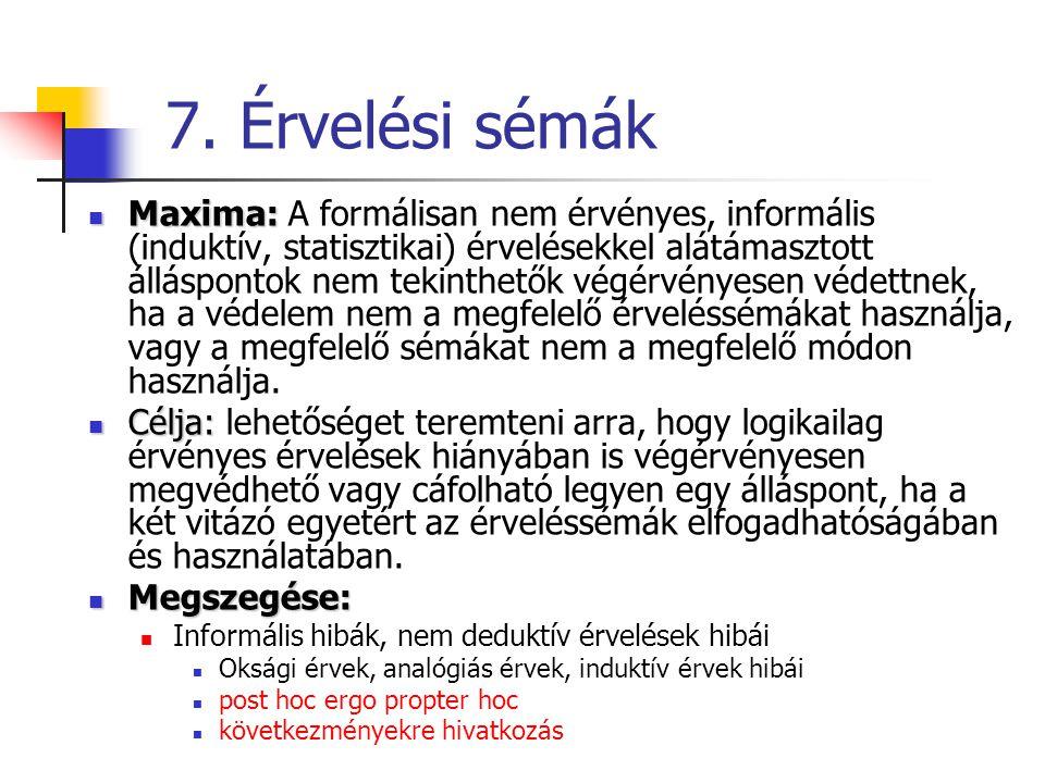 7. Érvelési sémák