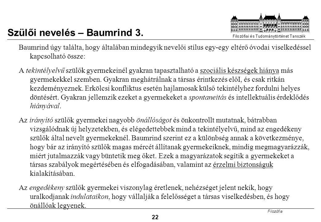 Szülői nevelés – Baumrind 3.