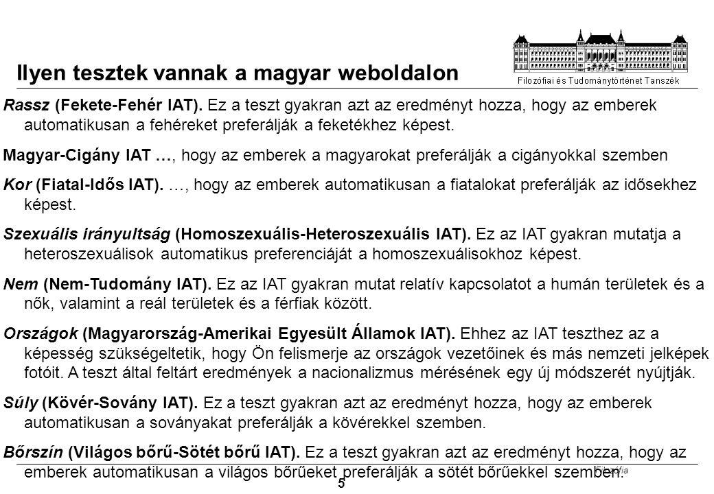 Ilyen tesztek vannak a magyar weboldalon