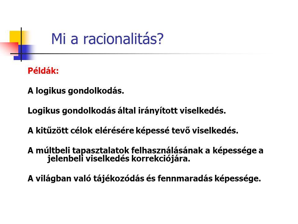 Mi a racionalitás Példák: A logikus gondolkodás.