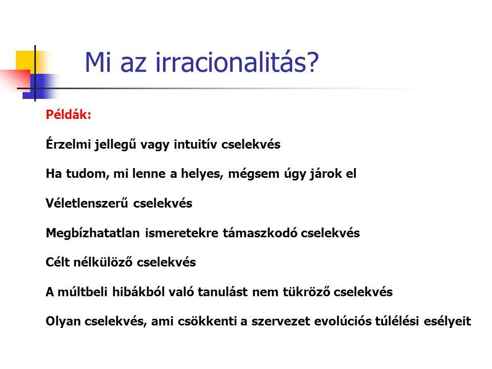 Mi az irracionalitás Példák: Érzelmi jellegű vagy intuitív cselekvés