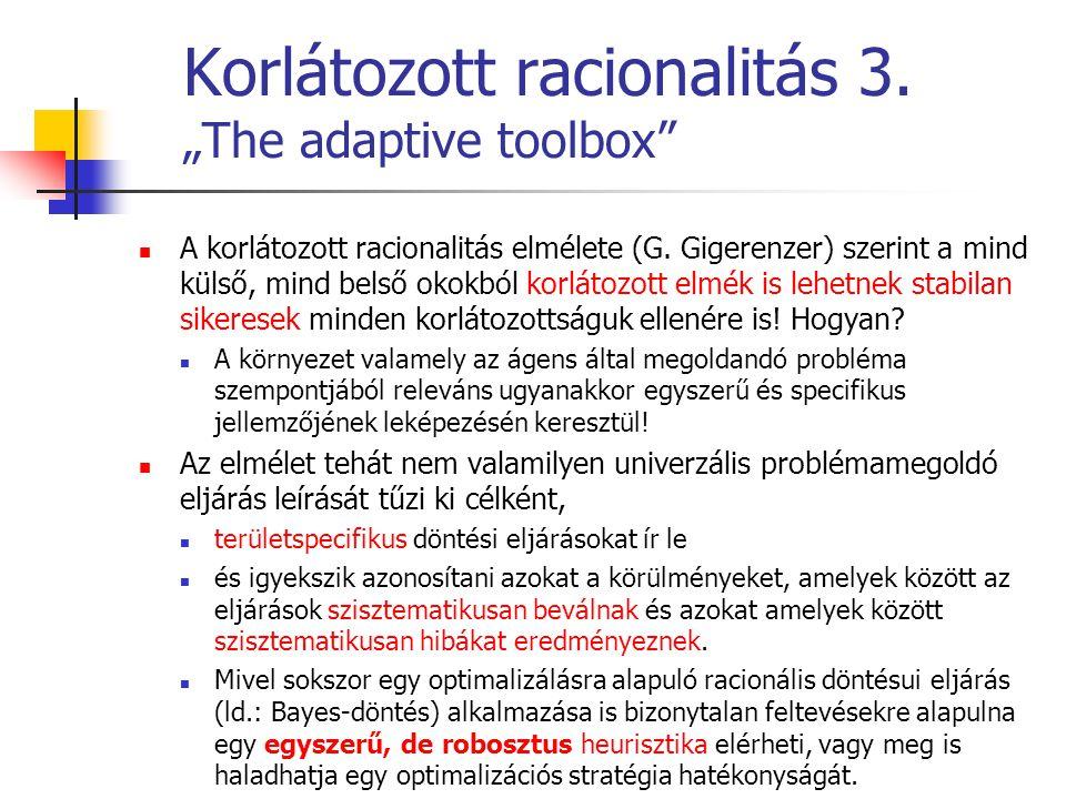 """Korlátozott racionalitás 3. """"The adaptive toolbox"""