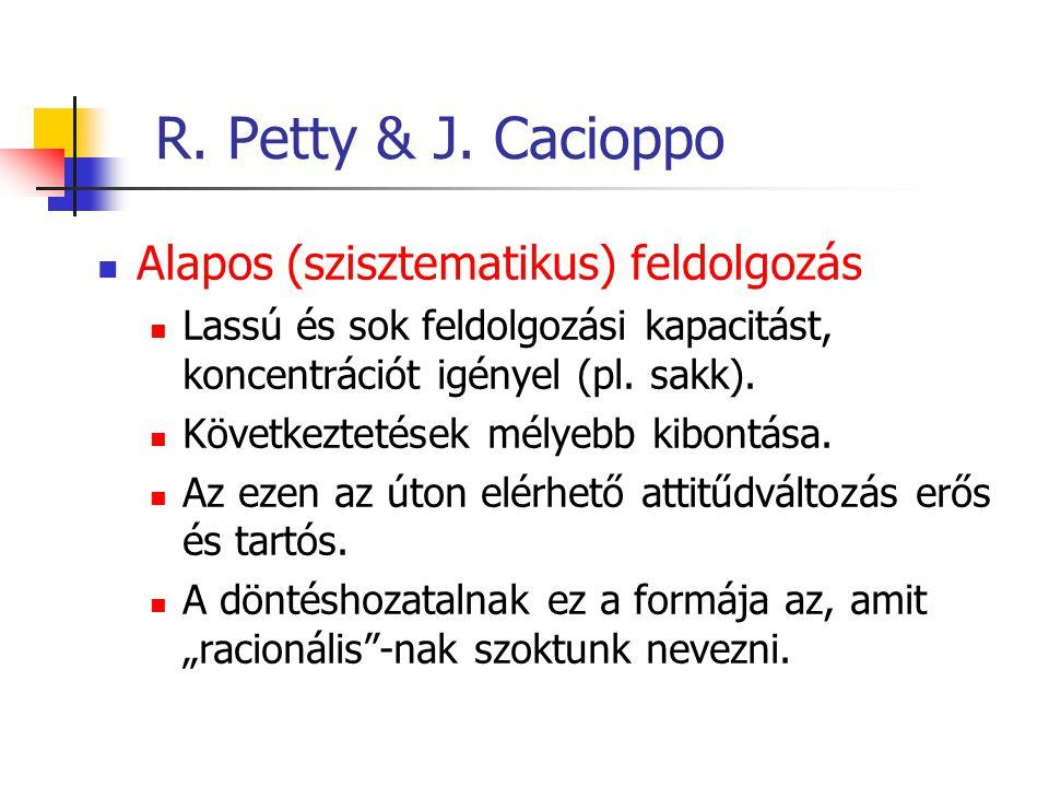 R. Petty & J. Cacioppo Alapos (szisztematikus) feldolgozás