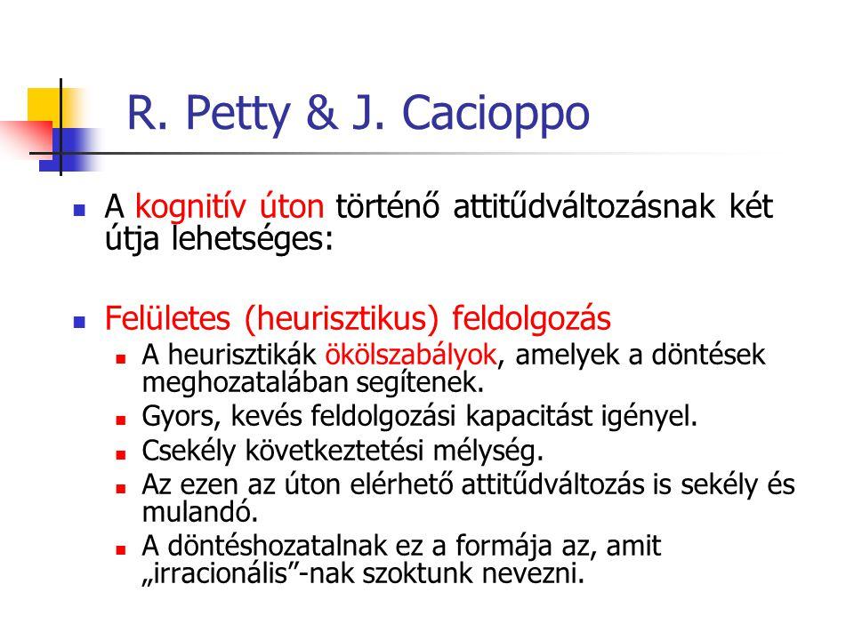 R. Petty & J. Cacioppo A kognitív úton történő attitűdváltozásnak két útja lehetséges: Felületes (heurisztikus) feldolgozás.