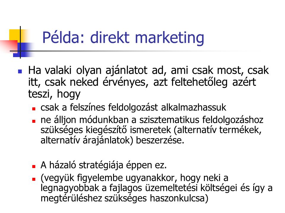 Példa: direkt marketing