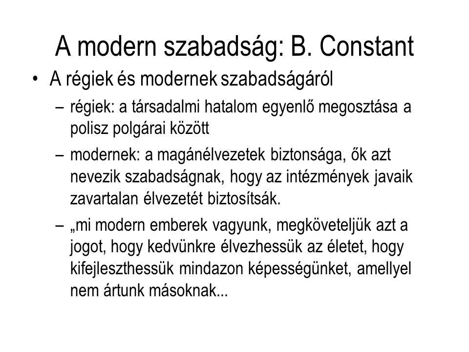 A modern szabadság: B. Constant