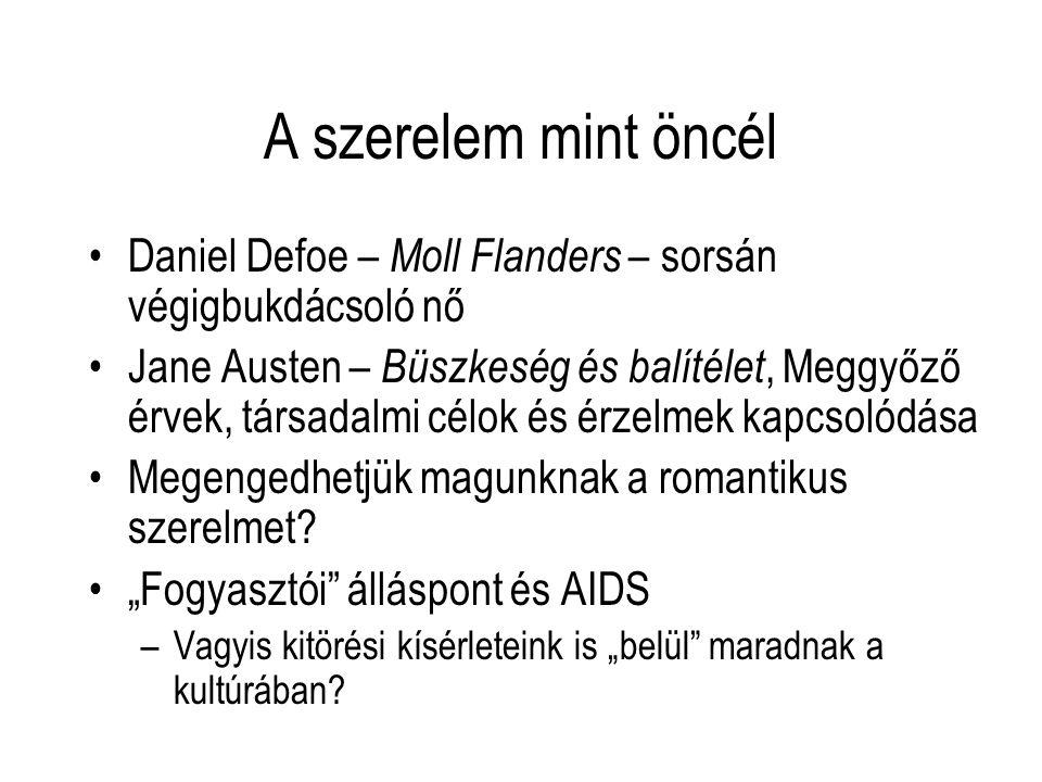 A szerelem mint öncél Daniel Defoe – Moll Flanders – sorsán végigbukdácsoló nő.