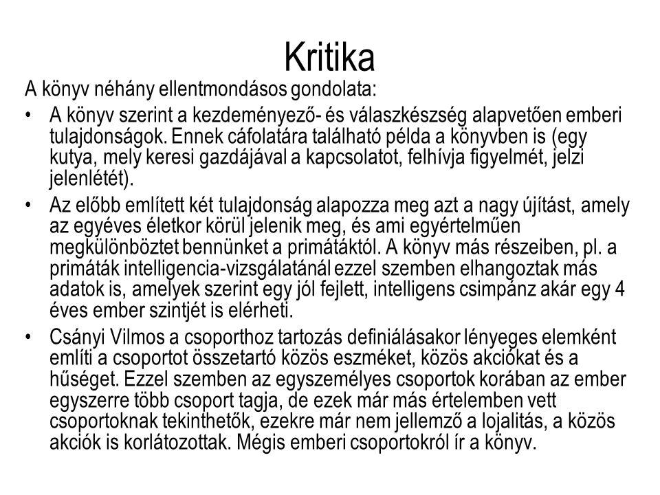 Kritika A könyv néhány ellentmondásos gondolata: