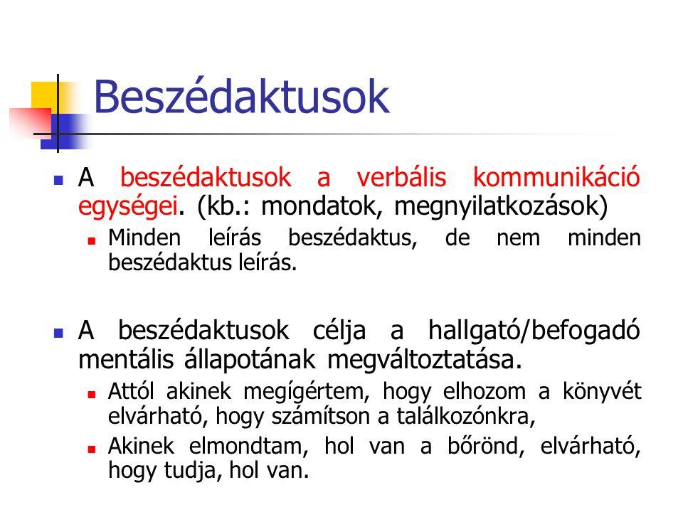 Beszédaktusok A beszédaktusok a verbális kommunikáció egységei. (kb.: mondatok, megnyilatkozások)