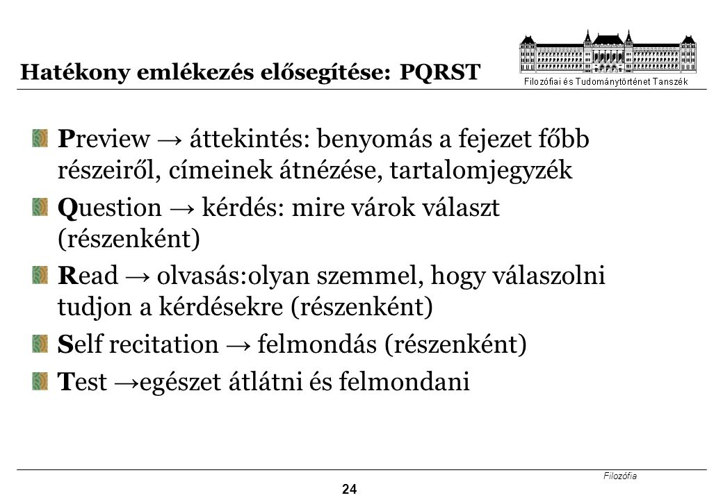 Hatékony emlékezés elősegítése: PQRST