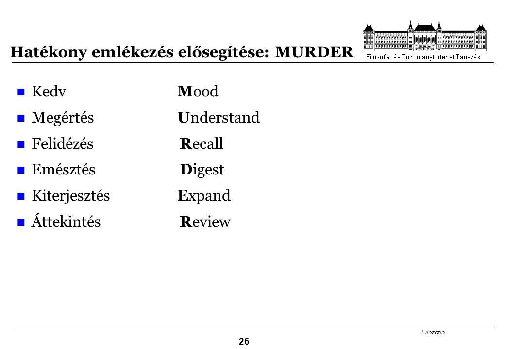 Hatékony emlékezés elősegítése: MURDER