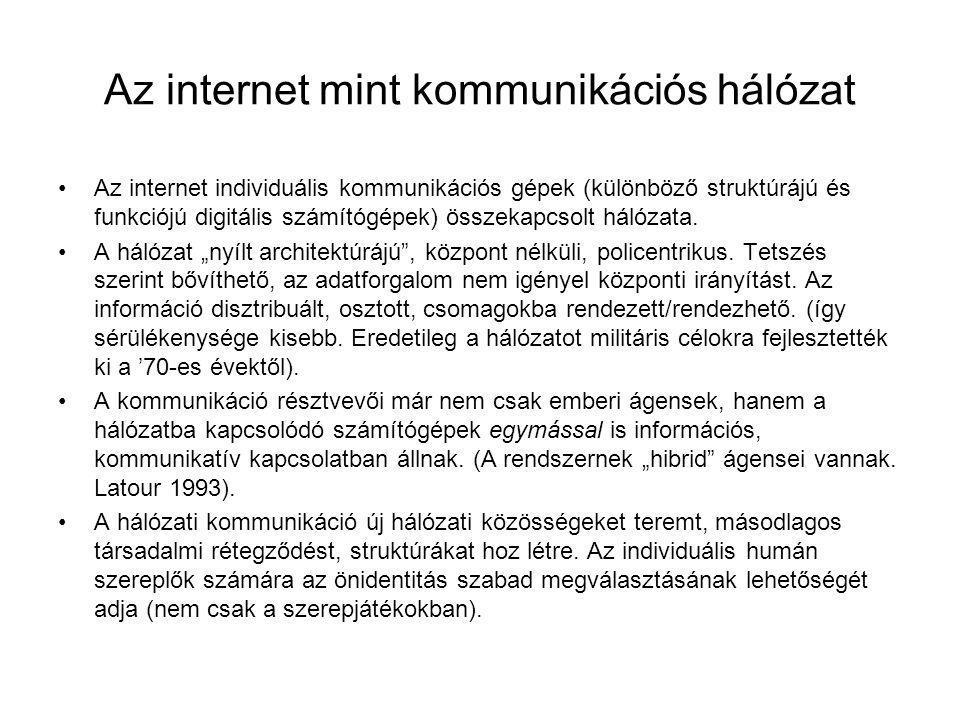 Az internet mint kommunikációs hálózat