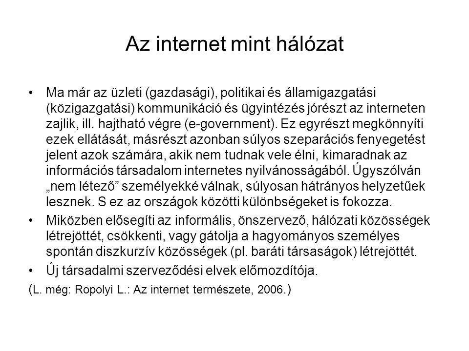 Az internet mint hálózat