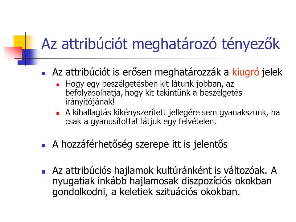 Az attribúciót meghatározó tényezők