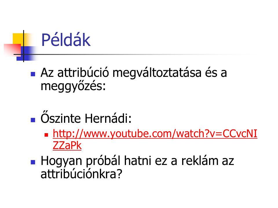 Példák Az attribúció megváltoztatása és a meggyőzés: Őszinte Hernádi: