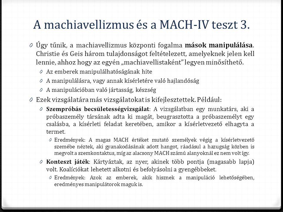 A machiavellizmus és a MACH-IV teszt 3.