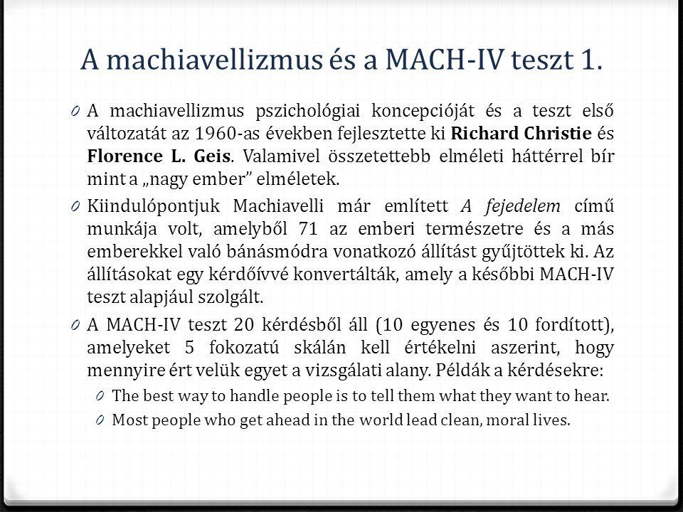 A machiavellizmus és a MACH-IV teszt 1.