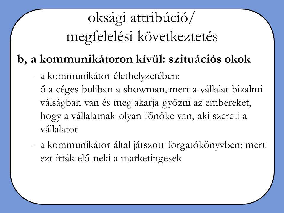oksági attribúció/ megfelelési következtetés
