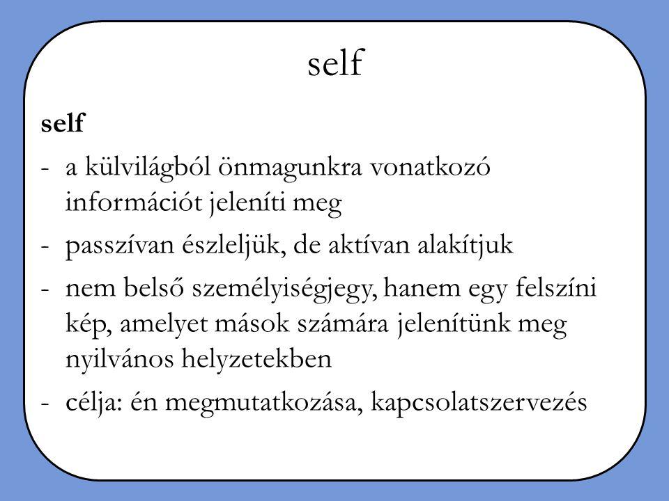 self self a külvilágból önmagunkra vonatkozó információt jeleníti meg