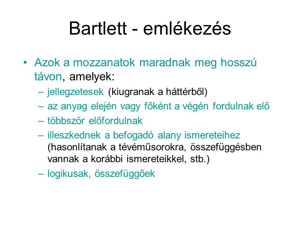 Bartlett - emlékezés Azok a mozzanatok maradnak meg hosszú távon, amelyek: jellegzetesek (kiugranak a háttérből)