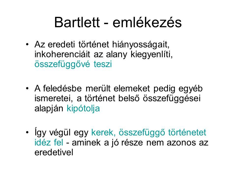Bartlett - emlékezés Az eredeti történet hiányosságait, inkoherenciáit az alany kiegyenlíti, összefüggővé teszi.
