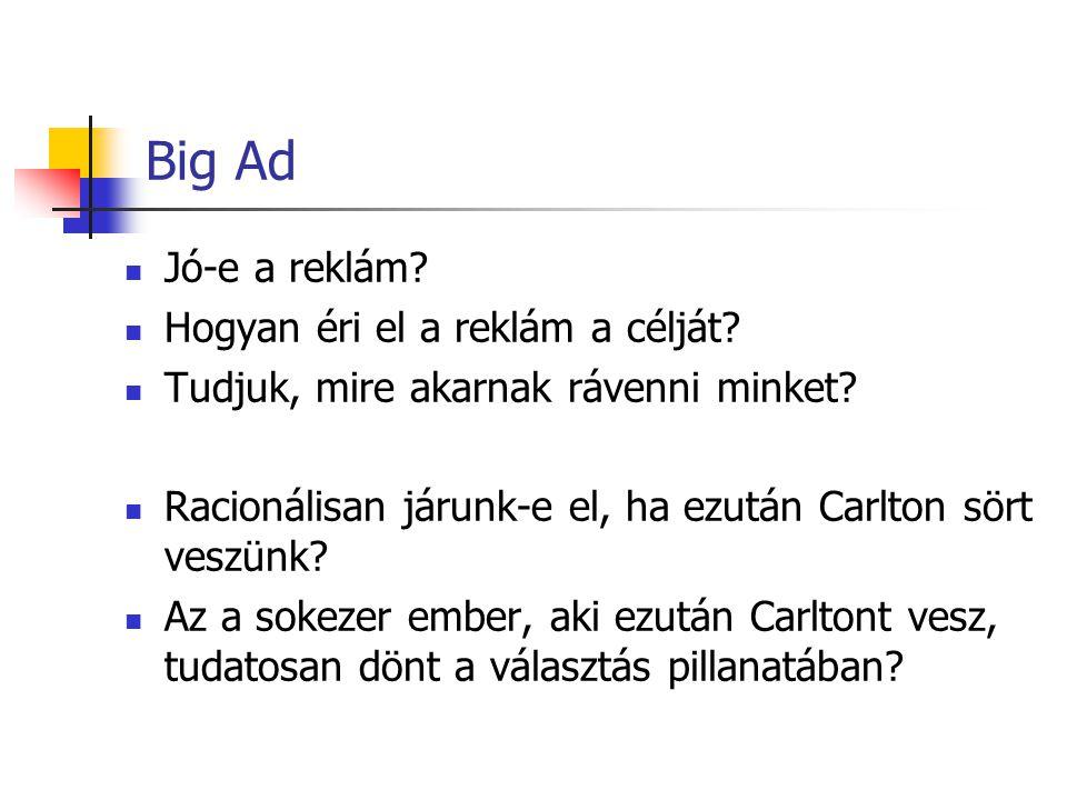 Big Ad Jó-e a reklám Hogyan éri el a reklám a célját