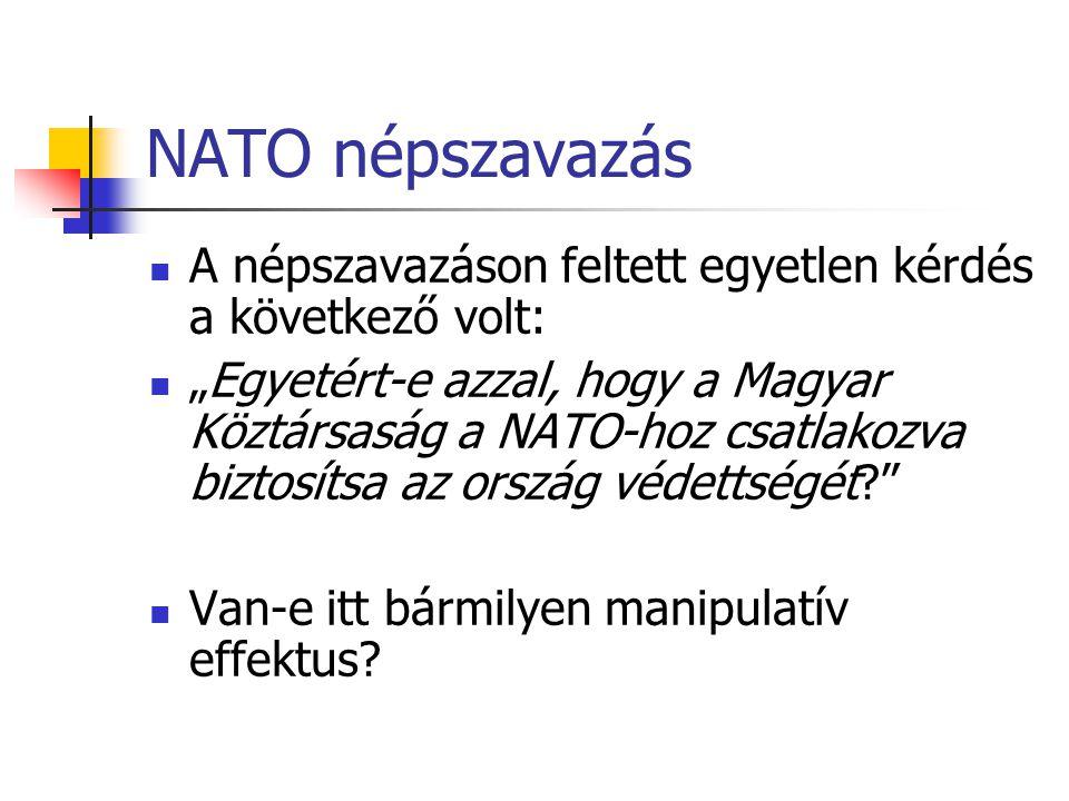 NATO népszavazás A népszavazáson feltett egyetlen kérdés a következő volt: