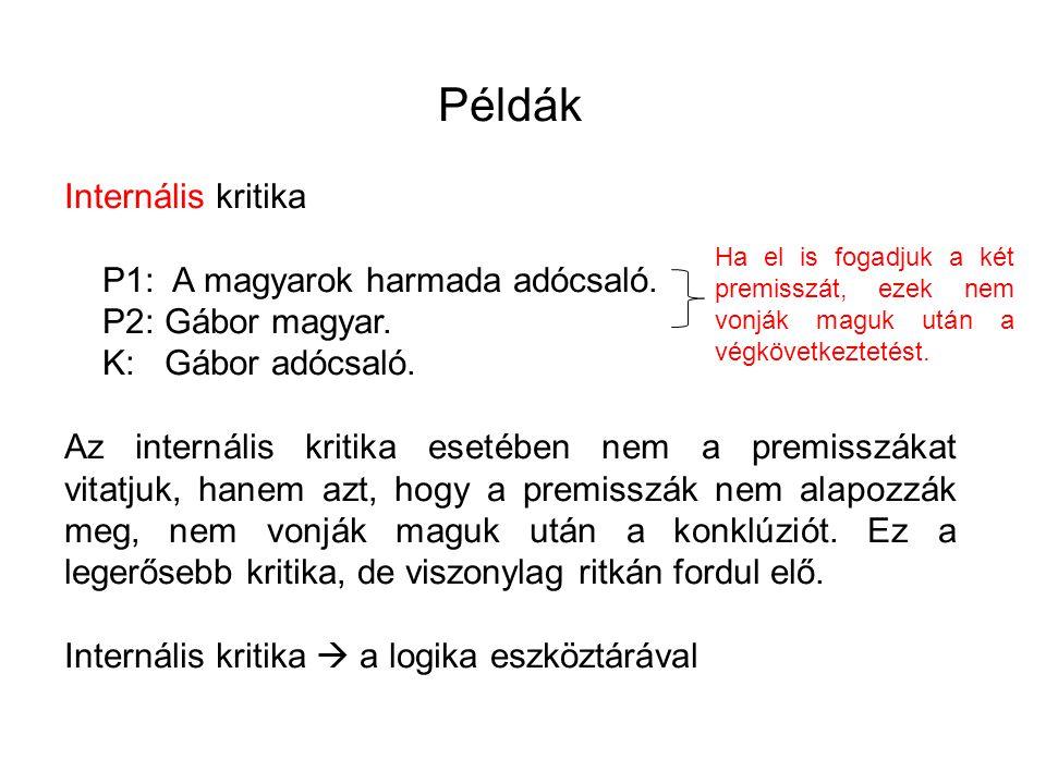 Példák Internális kritika P1: A magyarok harmada adócsaló.
